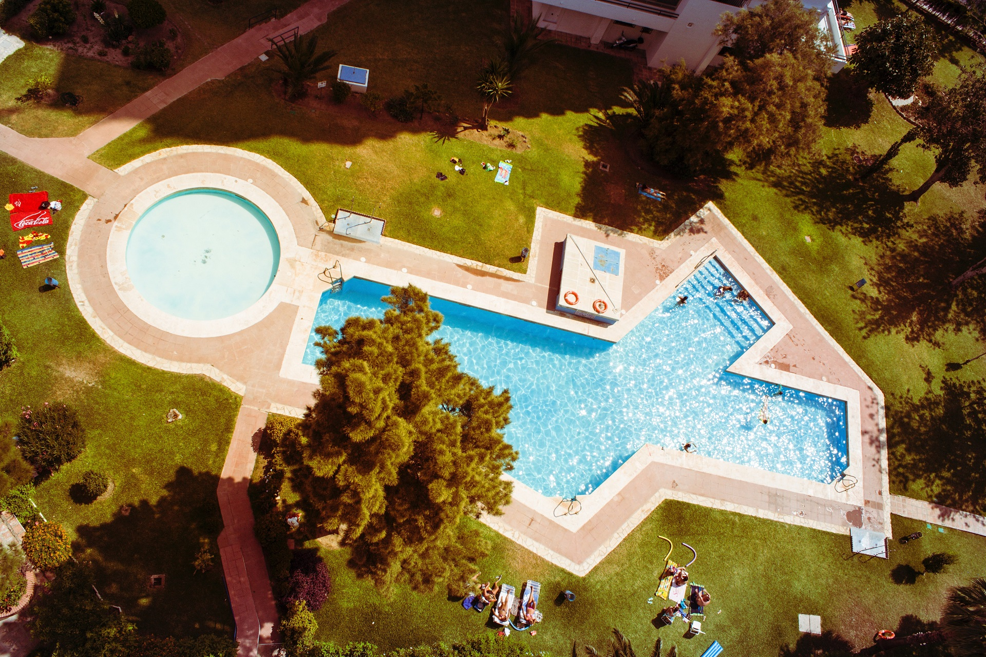 pool drone view