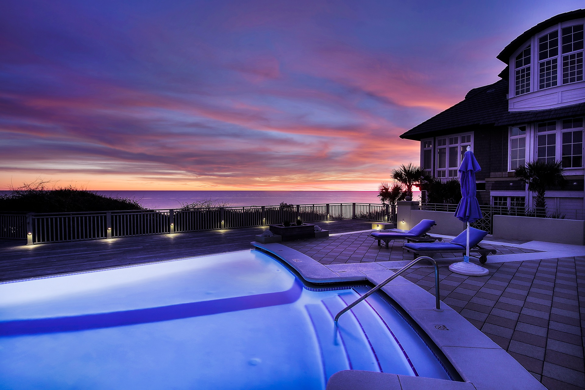 pool during sunset