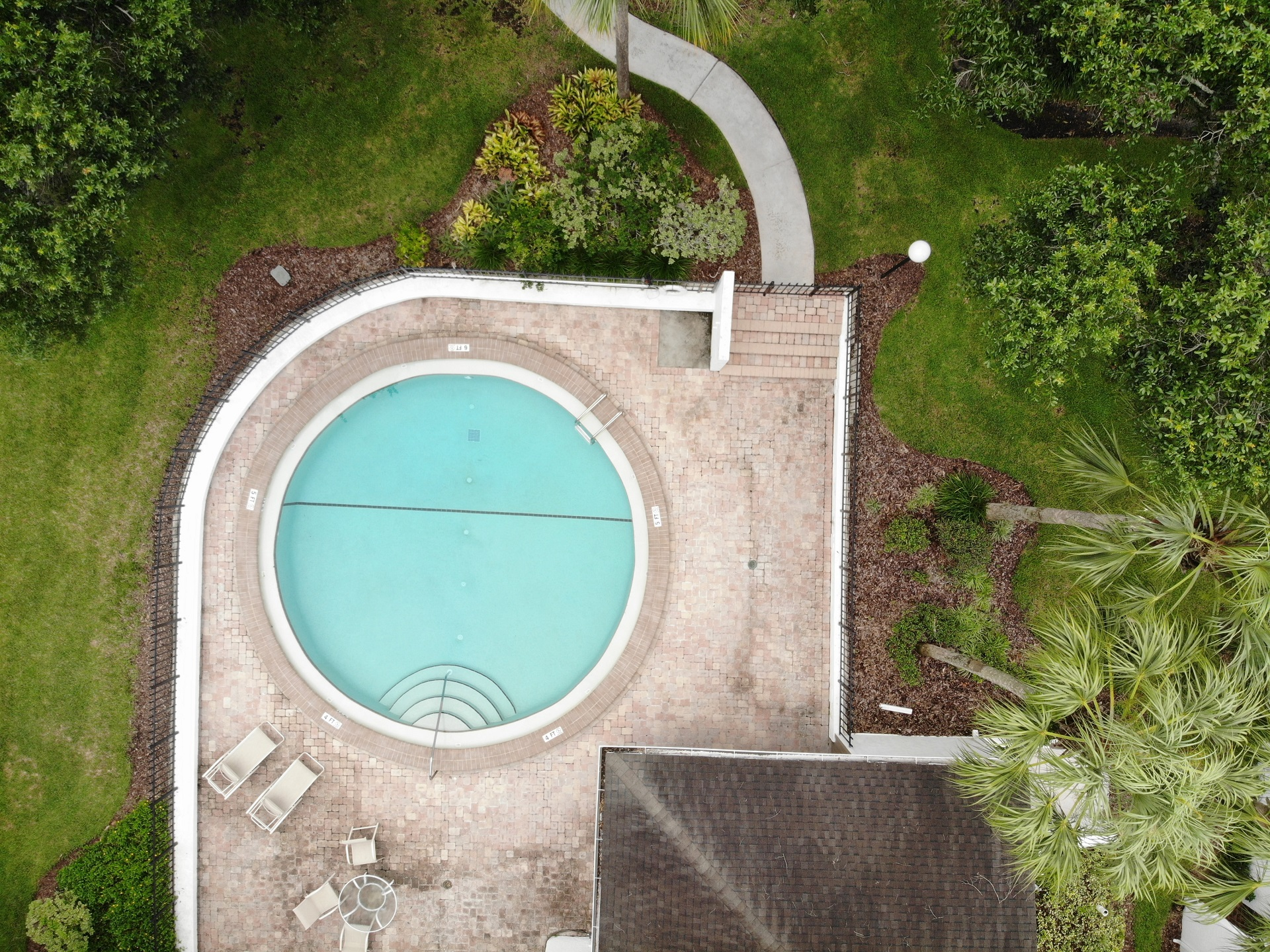 round pool aerial view